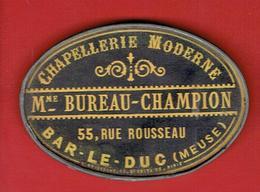 MIROIR PUBLICITAIRE BAR LE DUC MEUSE CHAPELLERIE MODERNE MADAME BUREAU CHAMPION 55 RUE ROUSSEAU - Other
