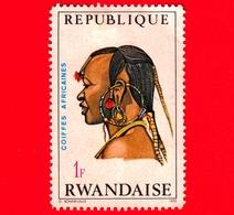RWANDA  - Usato -  1970 - Pettinatura -  African Hair Styles And Headdresses - Masai Man (Kenya) - 1 F - 1970-79: Usati