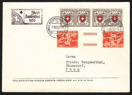 Schweiz Suisse PP 1950: Zu 46 +S60 Mi 545 + KZ17d Yv 497  Mit Autopost-o 1.VIII.50 ZÜRICH BUNDESFEIER 1950 - Lettres & Documents