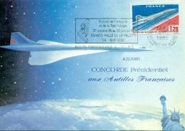 """CM-Carte Maximum Card # France-1976 # Transport # Avion,airliner """" Concorde""""  Vol Présidentiel Aux Antilles  4.12.85 - Cartes-Maximum"""