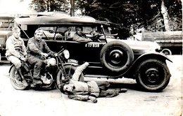 Carte Photo Militaires Moto Peugeot + Voiture - Guerre 1914-18