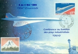 "CM-Carte Maximum Card # France-1976 # Transport # Avion,airliner "" Concorde""  Conférence Au Sommet,Tokio 4.5.86 - Cartes-Maximum"