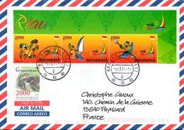 INDONESIE. N°2594-6 De 2012 Sur Enveloppe Ayant Circulé. Planche à Voile/Canoë-kayak/Football. - Kano