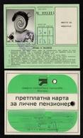 Bus Tram Trolley Month Ticket / Pensioner - Yugoslavia Serbia BELGRADE Beograd - Abonnements Hebdomadaires & Mensuels
