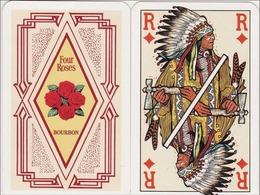 Jeu De 52 Cartes à Jouer - Far-West : Cow-boy - Indiens - Soldats - Squaw - Trappeur - Pub : Whisky Bourbon Four Roses - Jeux De Société