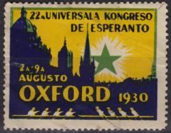 Rowing - 1930 - England OXFORD University - ESPERANTO Congress - LABEL CINDERELLA VIGNETTE - Roeisport