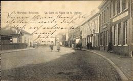 Cp Wervik Westflandern, La Gare Et Place De La Station - Belgique