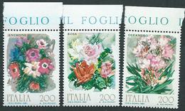 Italia 1981; Fiori D' Italia: Rosa, Oleandro, Anemone. Serie Completa Con Bordo Superiore. - 6. 1946-.. Repubblica