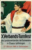 GUEBWILLER 10ème Verbands-Turnfest 27.29 Juin 1914 Pli Dans La Carte Au Niveau Du Timbre (en Bas) - Guebwiller