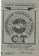 Carte CGT  1946 - Confédération Générale Du Travail - Intérieur Entierement Timbrée - TTB - Mapas