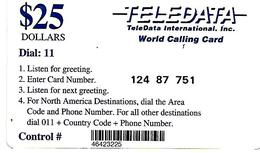 2-CARTES-PREPAYEES -1990--USA-MILITAIRE-GUERRE GOLFE-TELEDATA-25$-Bleu-25$ NoirN° CODE Pt Lasers-TBE - Francia