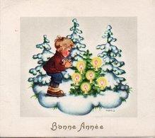 Carte De BONNE ANNEE ( 2 Volets ) . Enfants Avec Sapin Et Bougies . - New Year