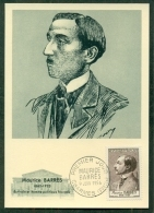 CM-Carte Maximum Card # 1956-FRANCE # Art # Célébrités # Maurice Barrès, écrivain,author, Homme Politique #Charmes - Maximumkarten