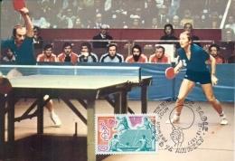 CM-Carte Maximum Card # France-1977 # Sport # Tennis De Table,ping Pong ,Tischtennis, Table Tennis # Annecy - Maximum Cards