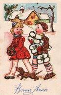 Carte De BONNE ANNEE . Enfants Portant Des Cadeaux Et Paysage De Neige , Carte Avec Petites Paillettes Collées . - Nouvel An