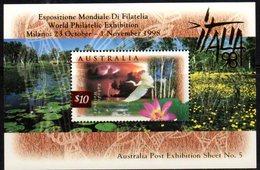 AUSTRALIA, 1998, MNH, ITALIA 1998 STAMP EXHIBITION OVERPRINT, BIRDS, KAKADU WETLANDS, S/SHEET - Birds