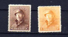 1919   Belgique, 50c Et 1-F  Roi Albert Casqué, 174 - 175*, Cote 68 €, - 1919-1920 Trench Helmet