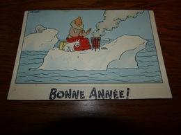 Rare Ancienne Cpa Tintin Série Neige Bonne Année Kuifje Voyagée - Comics