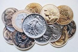 CPSM PIECES DE MONNAIES EN FRANCS ARGENT MONNAIE REPUBLIQUE FRANCAISE LIBERTE EGALITE FRATERNITE - Monnaies (représentations)