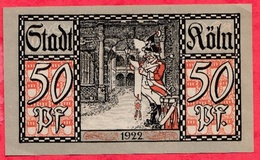 Allemagne 1 Notgeld De 50 Pfenning  Stadt Köln (RARE) UNC  N °2740 - [ 3] 1918-1933 : République De Weimar
