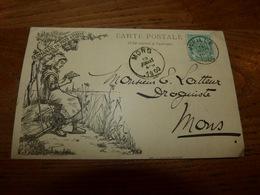 Entier Postal Carte Publicité Cachet Mons Jupille  Marcophilie Lithographie Armanak Pays D'Haive Herve 1900 - Advertising