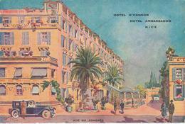 CPA Nice - Hôtel O'Connor - Hôtel Ambassador - Rue Du Congrès (carte Dessinée) - Cafés, Hôtels, Restaurants
