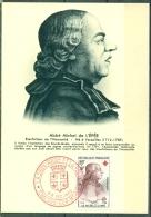 CM-Carte Maximum Card # France-1959#Célébrités #Croix Rouge-Red Cross # Abbé Michel De L´Épée (Sourds-Muets), Chal - Cartoline Maximum
