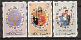 Brunei 1981 Royal Wedding - Prince Charles And Diana  Mi  252-254, MNH(**) - Brunei (1984-...)