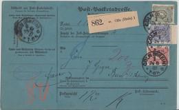 DR Paketkarte Mif Minr.41, 42 ZW Oben, 44 Cöln 24.8.87 - Deutschland
