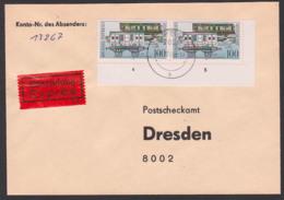 Bahnpostwagen, 100 Pf Int. Postverbindungen, DDR 3357(2), Eil-Brief-Gebühr Postsache, Portogenau, Ru. Eckrandstück - DDR