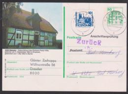 Anschriftenprüfung Bildpost-GA Berlin-West Nieheim Dichter Peter Hille, 50 Pf Plus 10 Pf Meissen, Nach Bad Homburg - [5] Berlijn