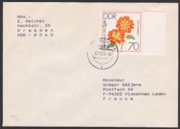 Dahlien Auf Der IGA, Halskrausen-Dalie  DDR 2440, Portogenau Auslandsbrief 2.10.90 - DDR