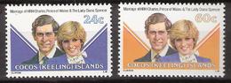Cocos (Keeling) Islands 1981 Royal Wedding - Prince Charles And Diana  Mi  73-74 MNH(**) - Cocos (Keeling) Islands
