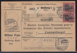 DR Paketkarte Mif Minr.2x 86IIc,90IIb,2x 93IIb Stolberg (Rhld.) 23.7.17 Gel. In Türkei Geprüft - Deutschland