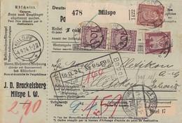 DR Paketkarte Mif Minr.2x 343,359,362 Milspe 4.9.24 Gel. In Schweiz - Briefe U. Dokumente