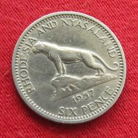 Rhodesia & Nyasaland 6 Six Pence 1957 KM# 4 Rodesia Rhodesie - Rhodesia