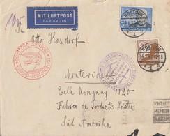 DR Luftpostbrief Mif Minr.533,539 Rostock 14.1.35 Gel. Nach Uruguay - Deutschland
