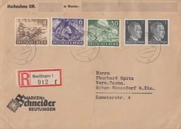 DR R-Brief Mif Minr.2x 781,832,834,840 Reutlingen 1.6.43 - Briefe U. Dokumente