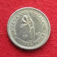 Rhodesia & Nyasaland 3 Three Pence 1963 KM# 3 *V2  Rodesia Rhodesie - Rhodésie