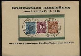 S6998 - Alliierte Besetzung Ziffer Gedenkblatt Karte  : Gebraucht Mit Sonderstempel Zeughaus Berlin 1946 - Gemeinschaftsausgaben