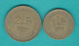 Monaco - Louis II - 1926 - 1 & 2 Francs - KM114 & KM115 - 1922-1949 Louis II