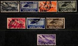 [811031]Italie 1945-47 - PA113/21, Série Courante, 25L Bleu Sur Fragment (à Laver) Et Manque 50L Vert, Oiseau, Avion - 6. 1946-.. Repubblica
