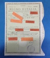 1938 REGNO D'ITALIA PRESTITO REDIMIBILE CINQUE PER CENTO TERZA SERIE MATRICE - Azioni & Titoli