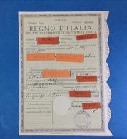 1937 REGNO D'ITALIA PRESTITO REDIMIBILE CINQUE PER CENTO PRIMA SERIE MATRICE - Azioni & Titoli