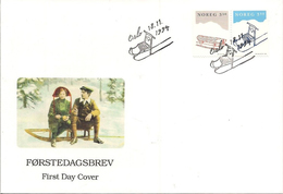 Norge Norway 1994 Christmas Rodel Sled, Tret Sled  Mi 1170-1171 , FDC - FDC