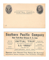 UX18 Ad SS Creole Steamship Intial Trip July 13 1907 Southern Pacific Company Postal Card - Postal History
