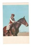 04907 Kirgyz Types Girl On A Horse Rider - Kirghizistan