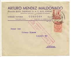 HISTORIA POSTAL Andalucía  Carta Córdoba-Sevilla  1937 Censura Militar   NL748 - Spagna