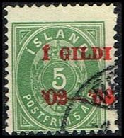 1902. I GILDI. 5 Aur Green. Perf. 12 3/4. Red Overprint  (Michel 26B) - JF309644 - 1873-1918 Dänische Abhängigkeit