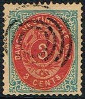 1873-1874. Bi-coloured. 3 C. Blue/rose.Normal Frame. Perf. 14x13½. Var. AFA 6u. (Michel 6 Ia) - JF168179 - Denmark (West Indies)